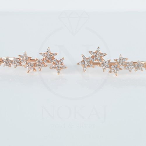 SREBRNE NAUŠNICE HAPPY STARS  ROSE GOLD
